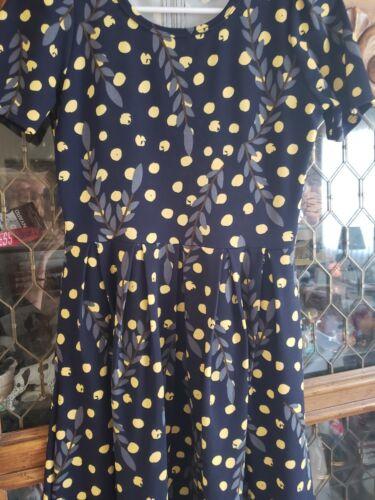 taglia Lularoe giallo foglie Amelia su e pois piccola a nero grigie OBx4Onz