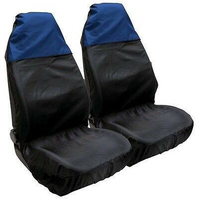 2 x Black//Blue Front Car Seat Protectors Covers Pair Universal Water Resistant