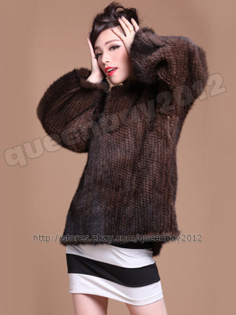 100% Real Genuine Knitted Mink Fur Poncho Coat Jacket Outwear Garment Sweater