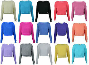 LADIES-WOMENS-CROPPED-KNIT-PULLOVER-JUMPER-LONG-SLEEVE-SWEATER-6-16
