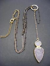 $54 Panacea Gilded Druzy Drusy Stone Pendant Necklace Beaded Double Row Lariat