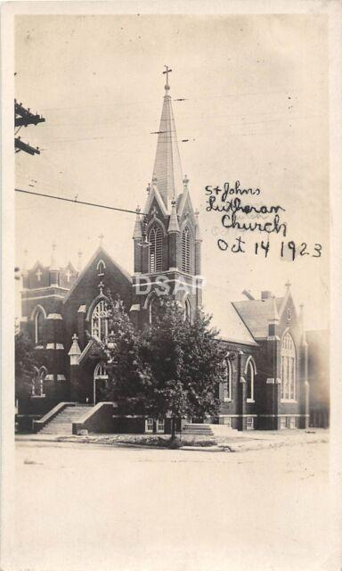 B64/ Gary Indiana In Real Photo RPPC Postcard 1923 St Johns Lutheran Church 2