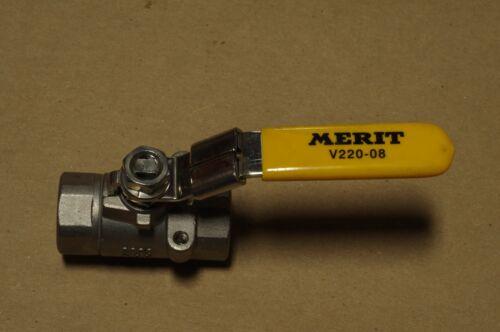 """Merit Brass V220-08 1//2/"""" Ball Valve 2000 psi  Stainless Steel Threaded"""