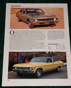 Details about ★★1972 CHEVY NOVA SPEC SHEET INFO PHOTO 72 350 RS SS 307  COUPE ★★