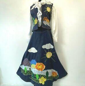 Vintage Dotti Didit Hippy Skirt Vest Denim size 12 Sun Clouds Flower Power SK
