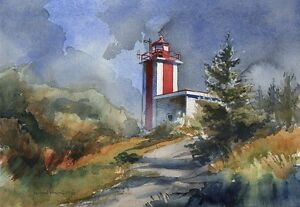 Roanoke Marshes Replica Lighthouse, North Carolina. Watercolor Notecards
