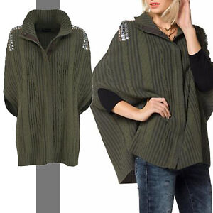 38 NEU 36 Damen Cardigan Strick Jacke Poncho Pullover Sweatshirt Gr