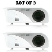 Lot Of 2) Pyle Prjg95 Digital Multimedia Hd 1080p Projector, 120 Display Screen on sale