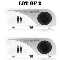 Lot Of 2) Pyle Prjg95 Digital Multimedia Hd 1080p Projector, 120 Display Screen on sale