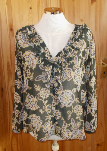 1 MAX olive green blue paisley floral chiffon long sleeve tunic blouse top M