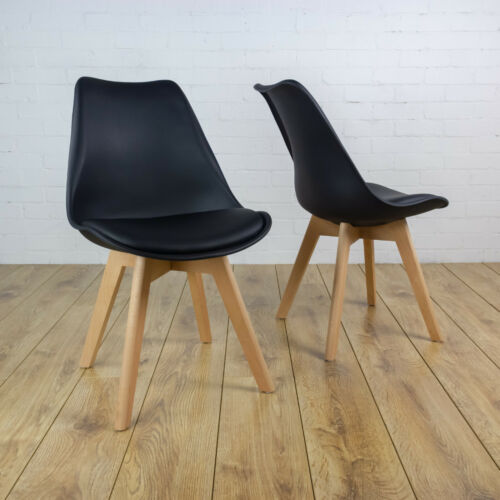 REBOXED 2x Dining Office Lounge Modern Tulip Chair Wooden Home Kitchen in Black