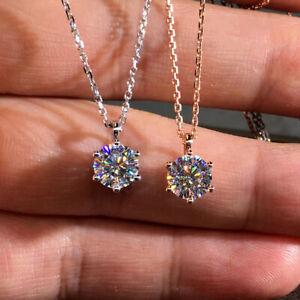 Rose-Gold-3CT-Moissanite-Round-Diamond-Pendants-Choker-Necklace-925-Silver-Chain