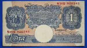1940-British-Bank-of-England-1-Banknote-Peppiatt-Prefix-034-N20D-034-20445