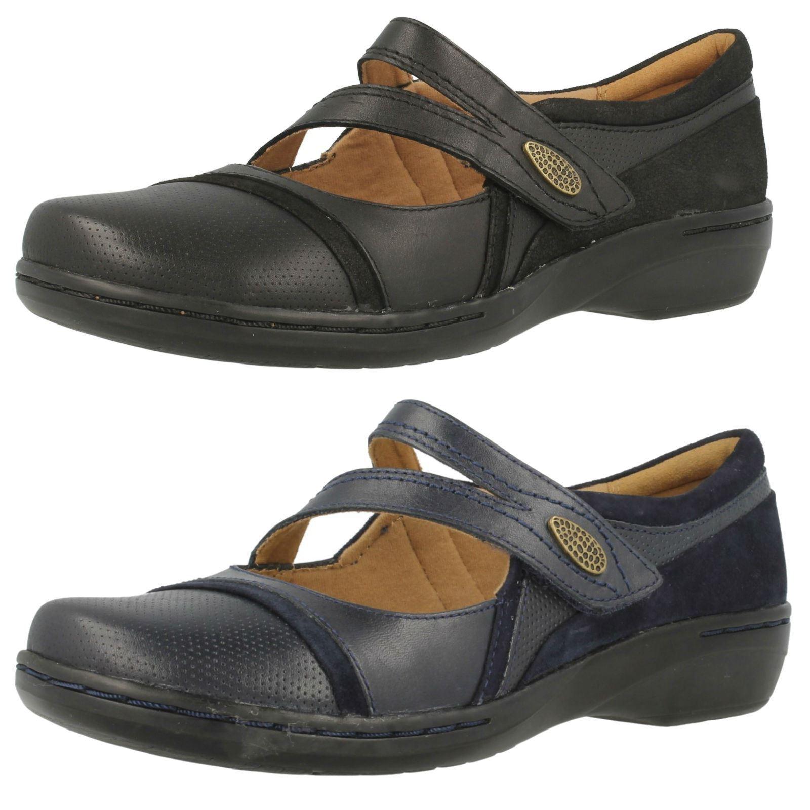 Clarks Mujer Mujer Mujer Cuero Cierre Adhesivo Informal Mary Jane bajo Zapatos de Cuña  precioso