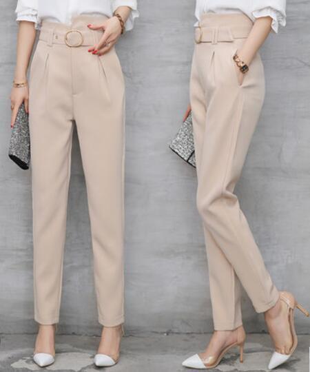New Womens Harem Fashion Trousers Cropped Pants High Waist Slim Wide Legs