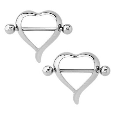 Nipple Ring Bars Heart Body Jewelry Pair 14 gauge Sold as a pair Jewelry