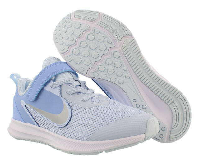 Nike Downshifter 9 Girls Shoes Size 11, Color: Half Blue/Metallic Silver