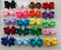 """4"""" Baby Girl Costume Boutique Hair Bows Clips Grosgrain Ribbon U pick colors"""