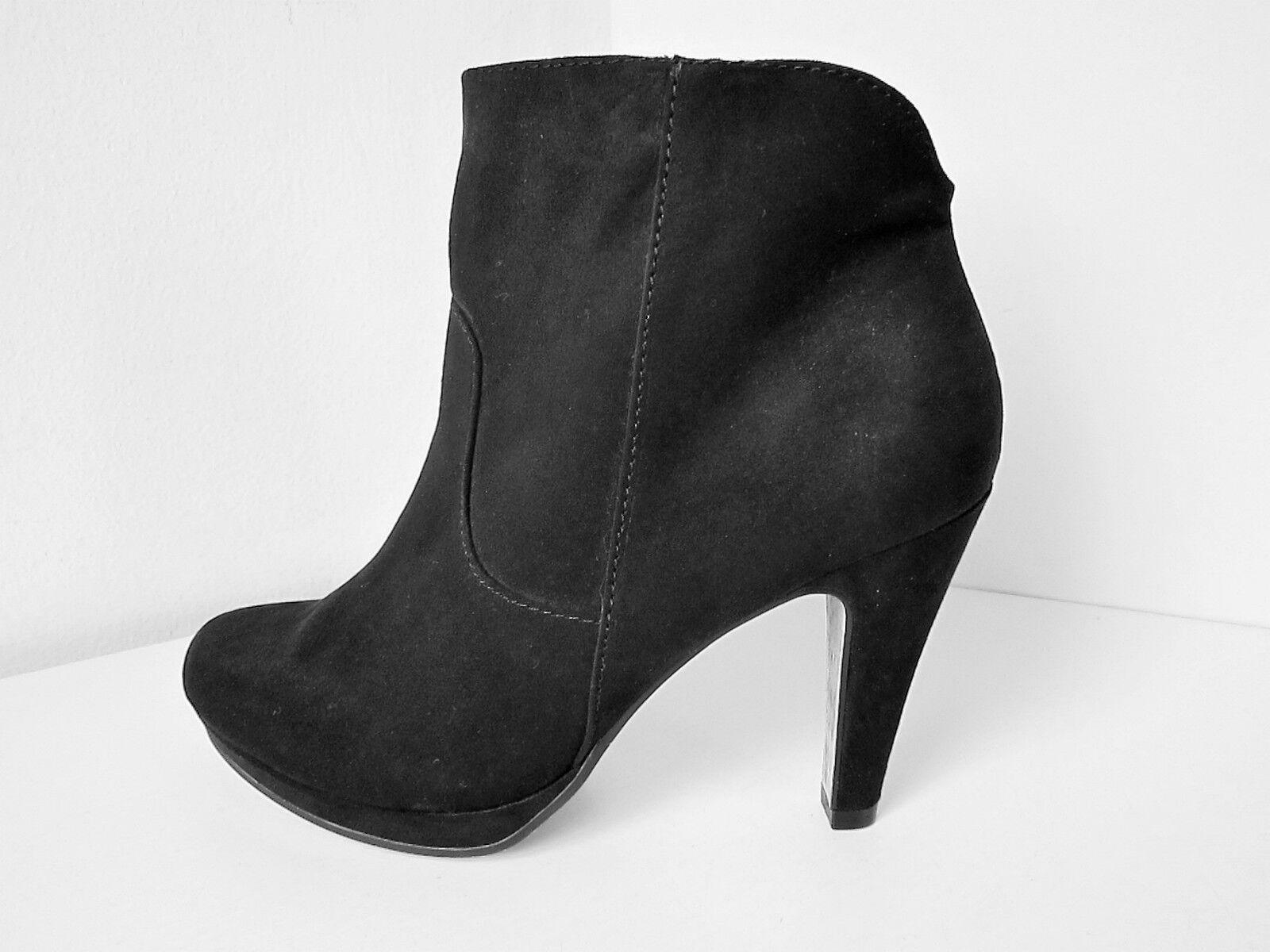 Tamaris Velour Plateau Stiefellette schwarz 36 - - 36 41 Stiefel Platform Stiefel high a81b11