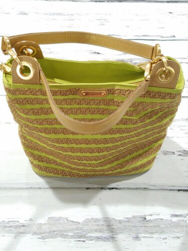 ERIC JAVITS~LIME GREEN~STRIPED~SHOPPERS TOTE SHOUL