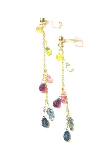 "Multi Gemstone Dangle Boucles d/'oreilles or Dangle Drop délicate 2/"" REAL or 14k postes"