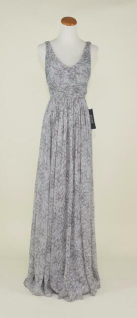 J Crew Silk Chiffon Watercolor Heidi Gown 4 Smoke Gray Bridesmaid Dress