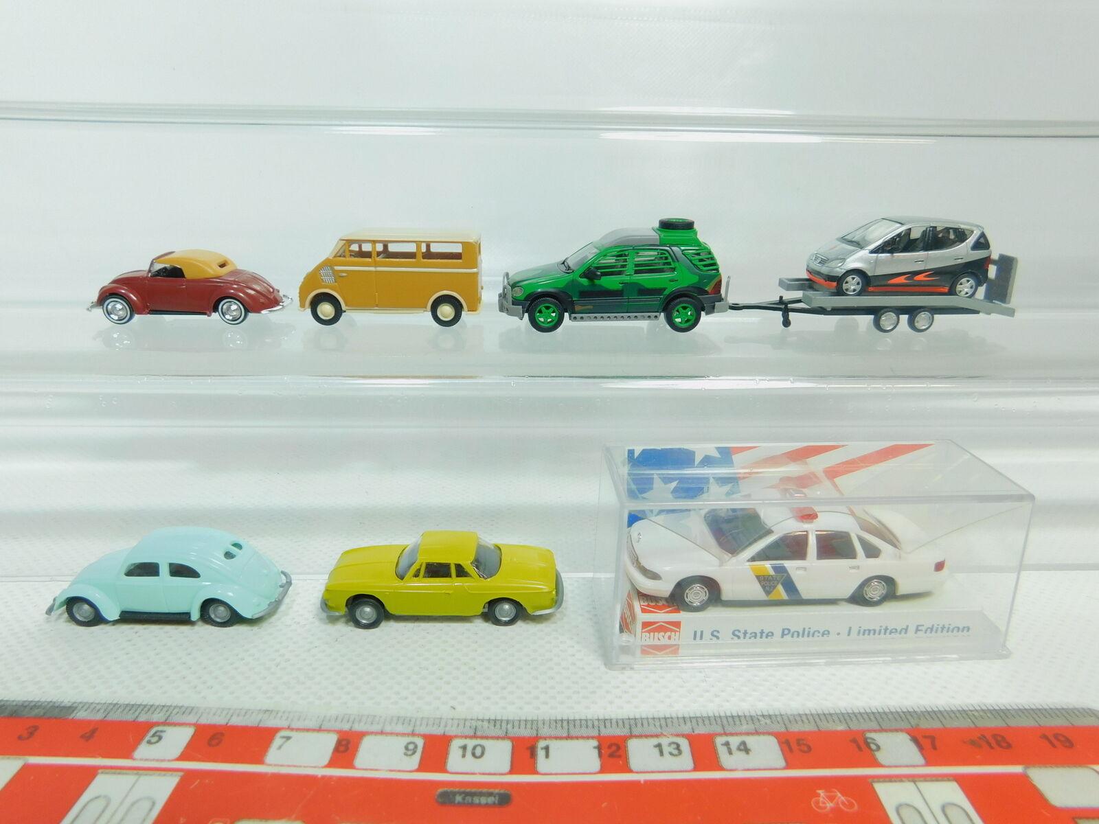 Bo900-0, 5  7x busch 1 87 modelo  VW EsCocheabajo Karmann MB + + DKW + Chevrolet policía, Neuw