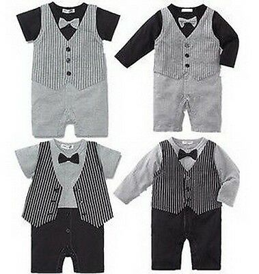 Baby Boy Formal Wear One-Piece Romper Party Tuxedo Suit Outfit Size 00 0 1 2 new