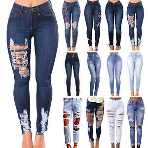 c25ff1b4716912 Das Bild wird geladen Damen-Stretch-Jeans-Denim-Hose-Roehrenjeans-Zerrissen -High-