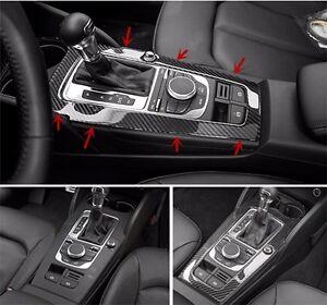 Carbon Fiber Interior Console Gear Shift Panel Cover Trim For Audi A3 8v 12 15 Ebay