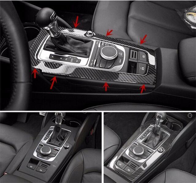 for audi a3 8v 2012 15 carbon fiber interior console gear shift panel cover trim ebay