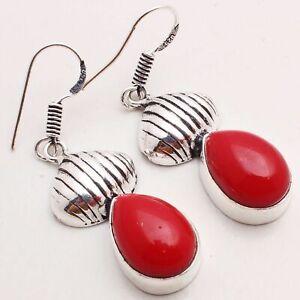"Coral Gemstone Ethnic Jewelry Handmade Drop/Dangle Earring 1.18"" E-9164"