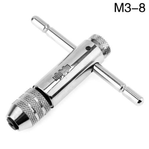M3-8 M5-12 Reversible T Bar Handle Ratchet Wrench Holder for Thread Tap DIE Set