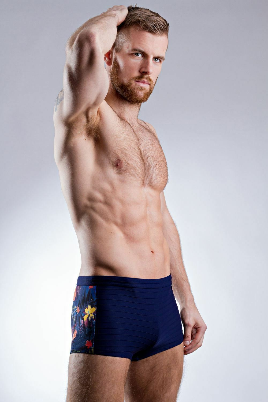 HOM Men's Feuillage Swim Shorts bluee Multicolour Floral Rear Trunk Swimwear