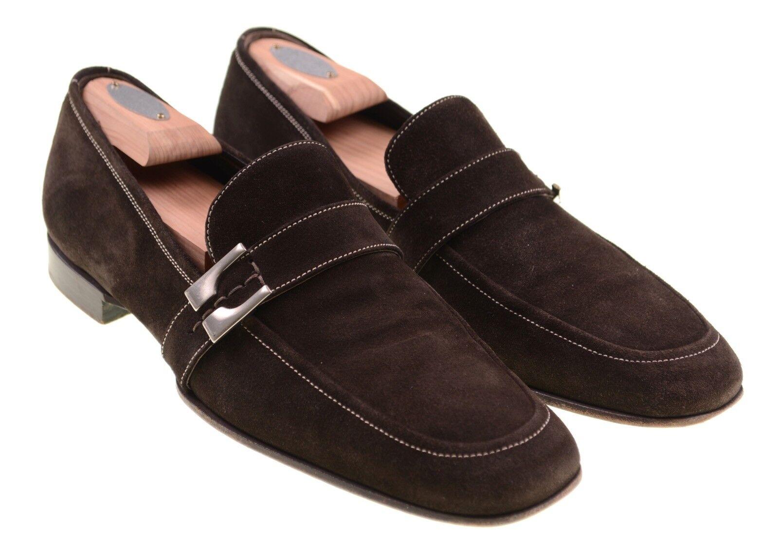 PAL Zileri Hecho en Italia Hebilla Correa De Cuero Marrón Gamuza Mocasines Zapatos 8 Completo