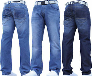 Mens-Jeans-Straight-Leg-Denim-Regular-Smart-Pants-With-Belt-All-Waist-Sizes