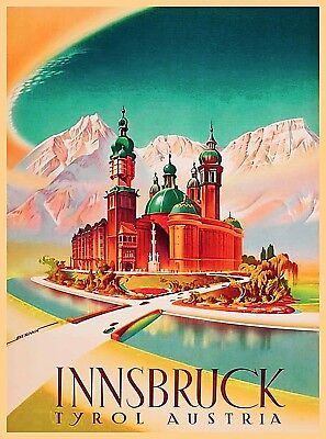 Innsbruck Austria Europe Vintage Travel Decor Advertisement Art Poster Print