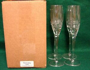Toscany-Collection-CAPRI-Champagne-Flutes-SET-of-FOUR-More-Avail-MINT-IN-BOX