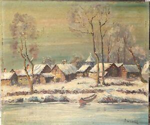 Bornemann Anna? inconnue hivernal village sur la rivière- Charmant peint-afficher le titre d`origine
