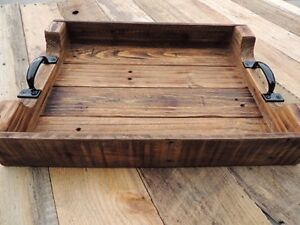 Farmhouse Rustic Handmade Wooden Serving Tray For Coffee Table