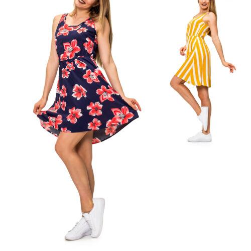 Only Damen Sommerkleid Freizeitkleid mit Print Skater Kleid Kurz Mini Kleid