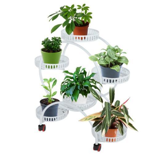 Multi-layer 6 Basket Plant Stand Potted Plants Shelf Indoor Flower Rack W// Wheel