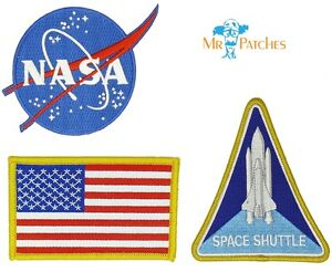 NASA-Astronaut-Space-Program-Patch-Iron-On-Set-Of-3-US-Seller-FREE-Shipping