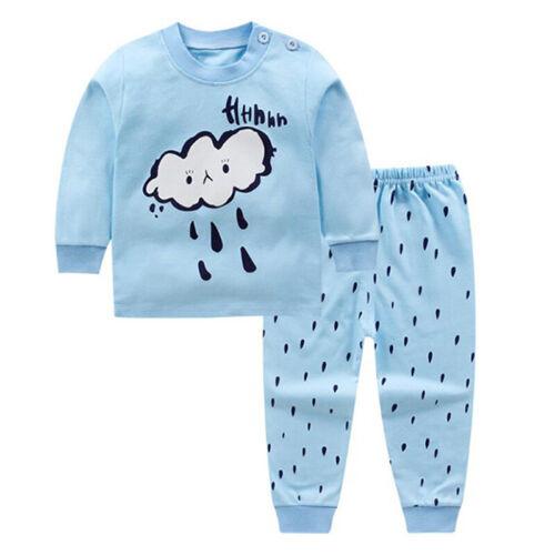 2pcs Kids Baby Boys Girls Clothes Top+Pants Cotton Baby Pajamas Sleepwear