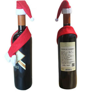 Decorazioni Bottiglie Natalizie.Decorazione Natalizia Bottiglia Vino Tavola Natale Cappello Sciarpa