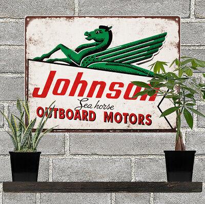 Johnson Seahorse Outboard Motors Boat Mancave Repro Metal Sign 9 x 12 60371