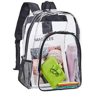 Clear Backpack, Heavy Duty See Through Backpack, Transparent Large Bookbag for &