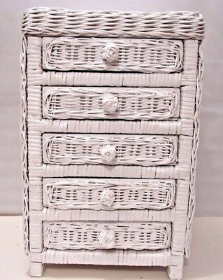 Jewelry Chest Old Style White Wicker Mini 5-Drawer Storage Toy Doll