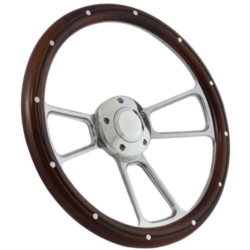 """14/"""" Steering Wheel Polished Billet /& Dark Wood For 1949-1991 Ford Pick Up/'s"""