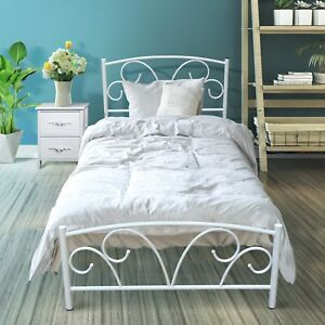 Single White Antique Looking Metal Bed Frame With Posture Slats